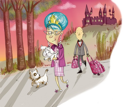 Adriana Puglisi Illustration - adriana puglisi, digital, paint, painted, commercial, educational,sketchy,  photoshop, illustrator, young fiction, editorial, people, lady, ladies, old, blue hair, man, men, castles, bags, suitcases, crowns, queen, dogs, puppy, puppies