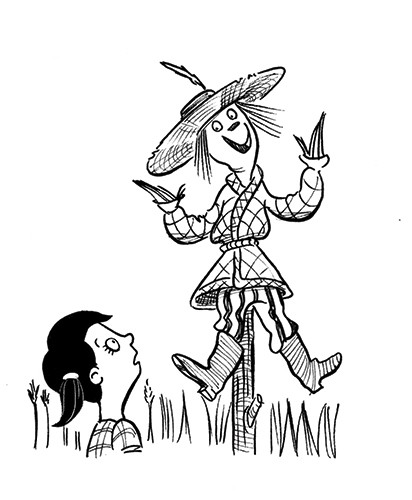 Alex Paterson Illustration - alex paterson, alex, paterson, fiction, educational, ink, pen, digital, black and white, b & w, photoshop, illustrator, wizard of oz, story, tale, fairytale, fantasy, dorothy, girl, scarecrow, stick, post, grass, boots, hat, straw, people, characters,