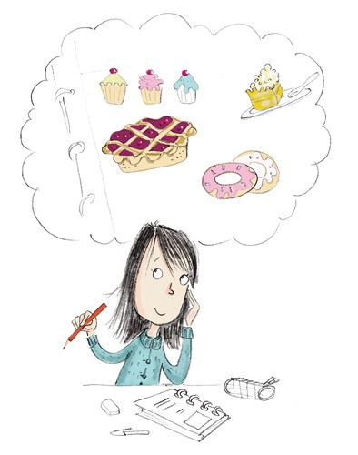 Adriana Puglisi Illustration - adriana puglisi, digital, paint, painted, commercial, educational,sketchy,  photoshop, illustrator, young fiction, editorial, children, people, girls, thinking, working, desk, studying, dreaming, food, donuts, cakes, treats, food,