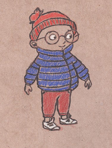 Amy Proud Illustration - amy proud, amy, proud, pencil, drawing, hand drawn, traditional, picture books, fiction, sketch, line work, colour, black and white, textured, boy, person, figure, character, glasses, happy, smile, coat, cold, clothing, hat, scarf, profile, blue, red,