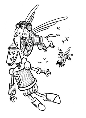 Alex Paterson Illustration - alex paterson, alex, paterson, fiction, educational, ink, pen, digital, black and white, b & w, photoshop, illustrator, wizard of oz, story, tale, fairytale, fantasy, tin man, flying monkey, monkey, animals, characters, flying, goggles, glasses, wings, bi
