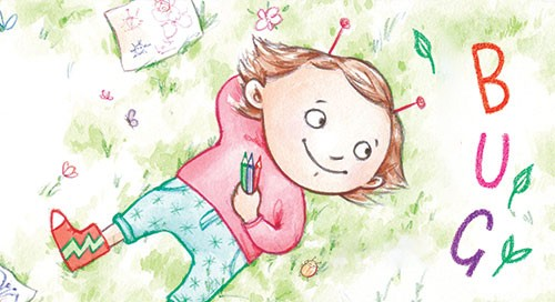 Amy Proud Illustration - amy proud, amy, proud, painter, water colour, digital, watercolour, paint, traditional, picture books, fiction, girl, grass, crayons, flowers, bug, drawings, antennae, bugs, ladybird, happy, smile,