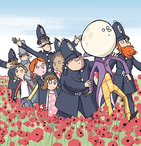 Alex Paterson Illustration - alex paterson, alex, paterson, fiction, educational, ink, pen, digital, the magic far away tree, children, child, colourful, moon face, policeman, poppies, flowers, field, YA, young reader