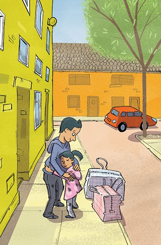 Alex Paterson Illustration - alex paterson, alex, paterson, fiction, educational, ink, pen, digital, colourful, person, people, child, dad, family, cute, YA, young reader, car, tree, houses