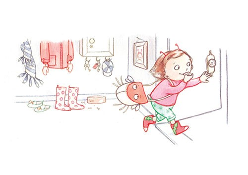 Amy Proud Illustration - amy proud, amy, proud, painter, water colour, digital, watercolour, paint, traditional, picture books, fiction, girl, antennae, house, bag, bug, wellies, boots, running, house, home, door, excited,