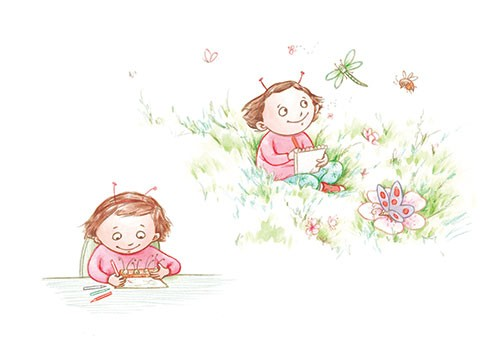 Amy Proud Illustration - amy proud, amy, proud, painter, water colour, digital, watercolour, paint, traditional, picture books, fiction, girl, antennae, bug, grass, drawing, bugs, animals, dragonfly, butterfly, flowers, crickets, happy, smile, field,