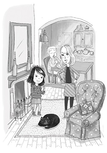 Adriana Puglisi Illustration - adriana puglisi, digital, paint, painted, commercial, educational, photoshop, illustrator, young fiction, editorial, black and white, b+w, family, child, girl, mum, cat, pet, brother, home, house, living room