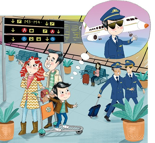 Adriana Puglisi Illustration - adriana puglisi, digital, paint, painted, commercial, educational, photoshop, illustrator, young fiction, editorial, people, boy, child, mum, dad, parents, family, airport, pilot, colour, colourful, airplane, transport, travel, YA, young reader