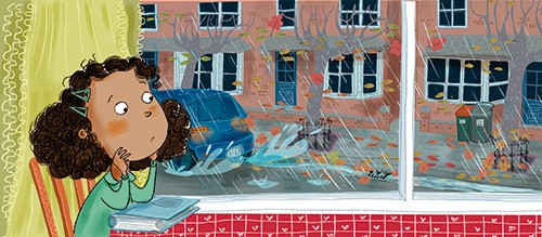 Adriana Puglisi Illustration - adriana puglisi, digital, paint, painted, commercial, educational, photoshop, illustrator, young fiction, editorial, girl, child, rain, rainy, weather, house, car, road, puddles, colour, colourful, autumn, wet, YA, young reader