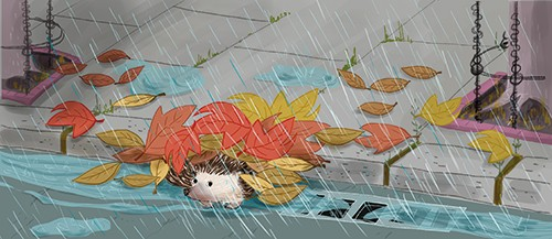 Adriana Puglisi Illustration - adriana puglisi, digital, paint, painted, commercial, educational, photoshop, illustrator, young fiction, editorial, hedgehog, animal, leaves, wet, weather, rain, YA, young reader, pavement, colour, colourful, pet