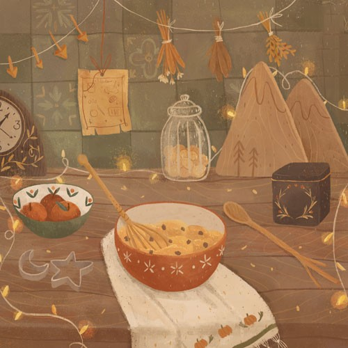 August Ro Illustration - august, ro, august ro, commercial, fiction, mass market, picture book,YA, painted, paint, traditional, watercolour, nature, kitchen, food, bowls, jars, counter, cookies, spoon, wooden spoon, cooking, baking, flour, wheat, clock, table, cutters