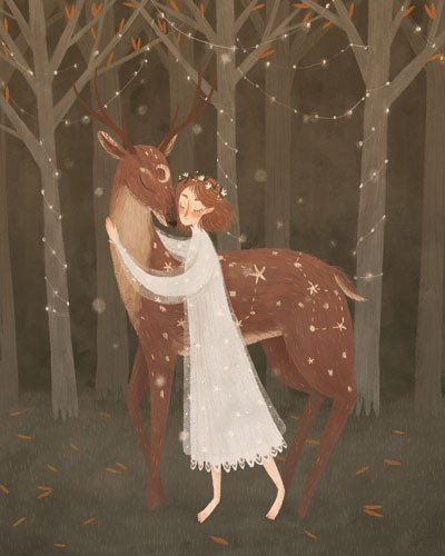 August Ro Illustration - august, ro, august ro, commercial, fiction, mass market, picture book,YA, painted, paint, traditional, watercolour, girl, woman, figure, person, deer, animal, nature, wild, flowers, moon, lights, trees, fairy lights, string, forest, woods