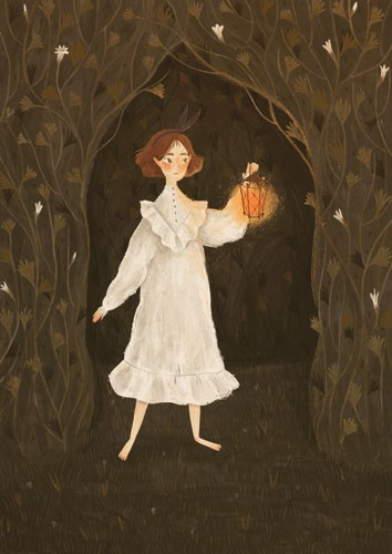 August Ro Illustration - august, ro, august ro, commercial, fiction, mass market, picture book,YA, painted, paint, traditional, watercolour, girl, woman, figure, person, nature, trees, forest, woods, lantern, light, flame, vines, flowers, worried, dark, night-time,