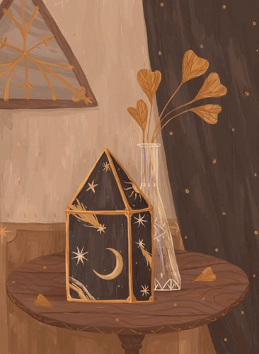 August Ro Illustration - august, ro, august ro, commercial, fiction, mass market, picture book,YA, painted, paint, traditional, watercolour, objects, vase, lantern, box, flowers, leaves, table, moon, stars, shooting stars,