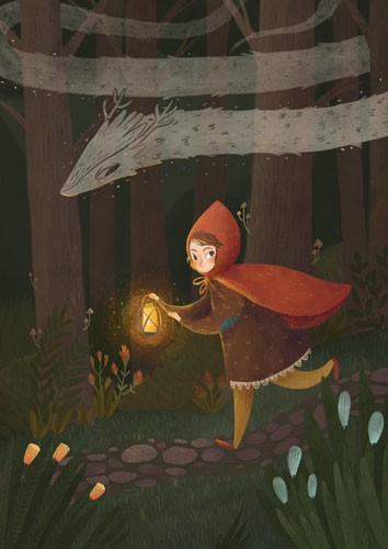 August Ro Illustration - august, ro, august ro, commercial, fiction, mass market, picture book,YA, painted, paint, traditional, watercolour, girl, woman, figure, person, nature, trees, forest, woods, lantern, light, flame, ghost, animal, path, cloak, red riding hood, fairytale