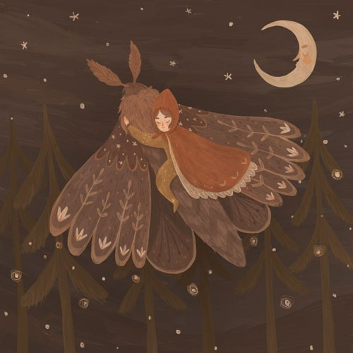 August Ro Illustration - august, ro, august ro, commercial, fiction, mass market, picture book,YA, painted, paint, traditional, watercolour, girl, woman, figure, person, moth, animal, nature, wild, flying, forest, woods, stars, moon, night, nightime, trees, friends
