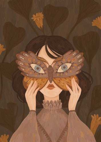 August Ro Illustration - august, ro, august ro, commercial, fiction, mass market, picture book,YA, painted, paint, traditional, watercolour, girl, woman, figure, person, mask, butterfly, animal, nature, wild, flowers, eyes, portrait, forest, woods