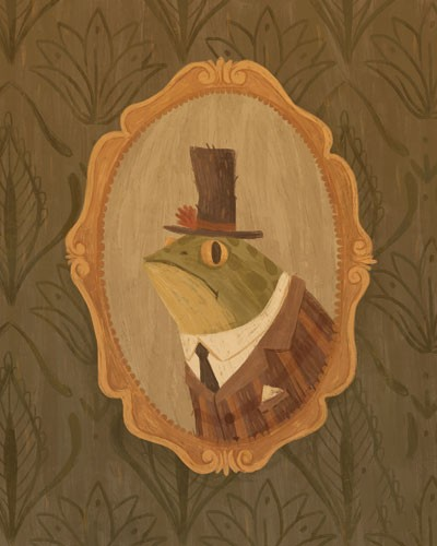 August Ro Illustration - august, ro, august ro, commercial, fiction, mass market, picture book,YA, painted, paint, traditional, watercolour, frog, man, figure, animal, nature, portrait, hat, top hat, picture, suit, frame, mirror