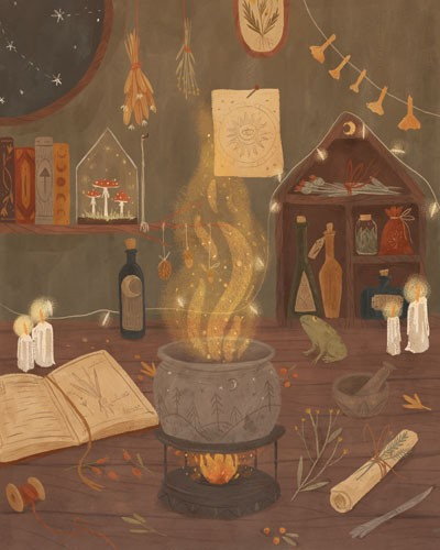 August Ro Illustration - august, ro, august ro, commercial, fiction, mass market, picture book,YA, painted, paint, traditional, watercolour, nature, fire, cauldron, smoke, books, potions, bottles, candles, flame, spells, magic, mushrooms, flowers