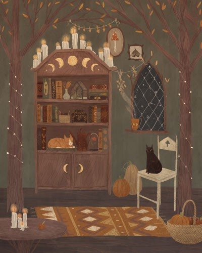 August Ro Illustration - august, ro, august ro, commercial, fiction, mass market, picture book,YA, painted, paint, traditional, watercolour, house, home, room, chair, rug, bookcase, cats, pets, chair, candles, trees, lights, fairy lights, pumpkins, halloween, seasonal, autumn,