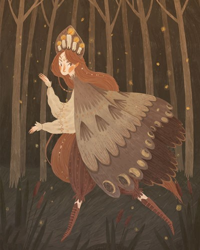 August Ro Illustration - august, ro, august ro, commercial, fiction, mass market, picture book,YA, painted, paint, traditional, watercolour, girl, woman, figure, person, nature, trees, forest, woods, candles, crown, walking, path, stars, night, night-time