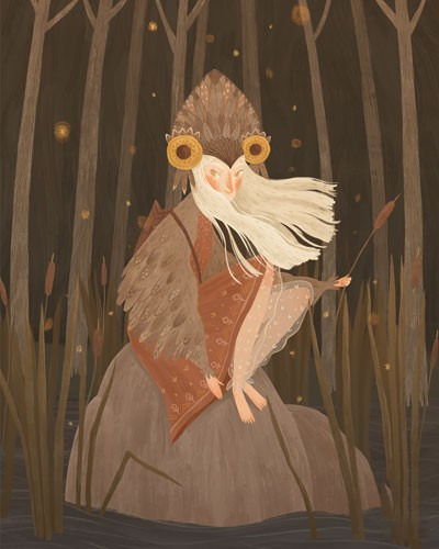 August Ro Illustration - august, ro, august ro, commercial, fiction, mass market, picture book,YA, painted, paint, traditional, watercolour, girl, woman, figure, person, nature, owl, costume, rock, trees, plants, stars, night-time, darkness, wings, feathers, stream, water, river,