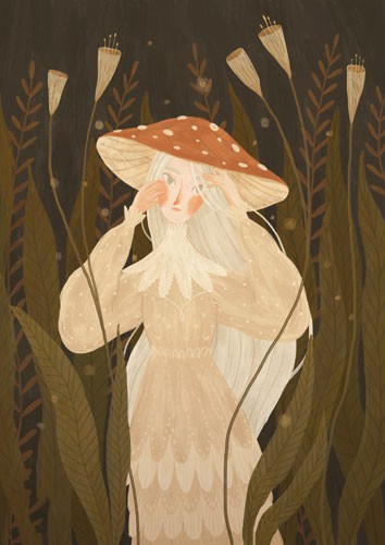 August Ro Illustration - august, ro, august ro, commercial, fiction, mass market, picture book,YA, painted, paint, traditional, watercolour, girl, woman, figure, nature, wild, plants, mushroom, hat, autumn, seasonal, fall,