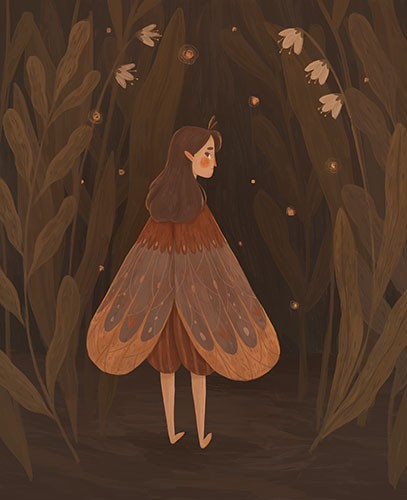 August Ro Illustration - august, ro, august ro, commercial, fiction, mass market, picture book,YA, painted, paint, traditional, watercolour, girl, woman, figure, person, plants, woods, forest, flowers, coat, wings, sad, expressions, feelings, emotions