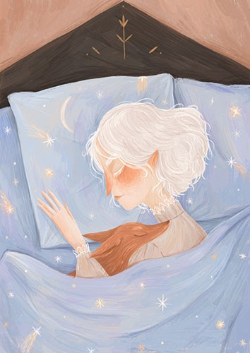 August Ro Illustration - august, ro, august ro, commercial, fiction, mass market, picture book,YA, painted, paint, traditional, watercolour, girl, woman, figure, person, bed, sleeping, dreams, moon, stars, shooting stars, pet, animal, love, friends, pillow, night