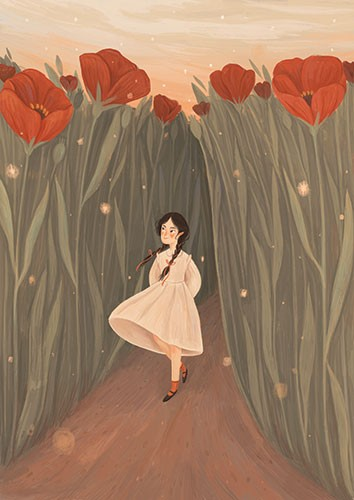 August Ro Illustration - august, ro, august ro, commercial, fiction, mass market, picture book,YA, painted, paint, traditional, watercolour, girl, woman, figure, person, poppies, field, flowers, small, walking, thumbelina, nature, beautiful, sky, leaves,
