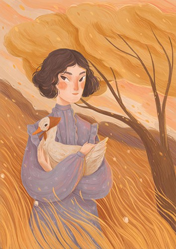 August Ro Illustration - august, ro, august ro, commercial, fiction, mass market, picture book,YA, painted, paint, traditional, watercolour, girl, woman, figure, person, goose, animal, field, tree, autumn, fall, seasonal, season,