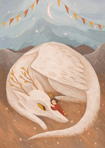 August Ro Illustration - august, ro, august ro, commercial, fiction, mass market, picture book,YA, painted, paint, traditional, watercolour, girl, woman, figure, person, creature, mythical, dragon, feathers, wings, bunting, hug, cuddle, friends, love, animal, wild, felid, nature,
