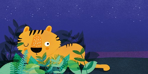 Anna Suessbauer Illustration - anna, süßbauer, anna süßbauer, illustration, digital, photoshop, illustrator, picture book, quirky, YA, young reader, tiger, night, nighttime, animal, stars, leaves, colour, texture