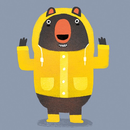Anna Suessbauer Illustration - anna, süßbauer, anna süßbauer, illustration, digital, photoshop, illustrator, picture book, quirky, YA, young reader, bear, raincoat, yellow, bright, quirky, animal, character