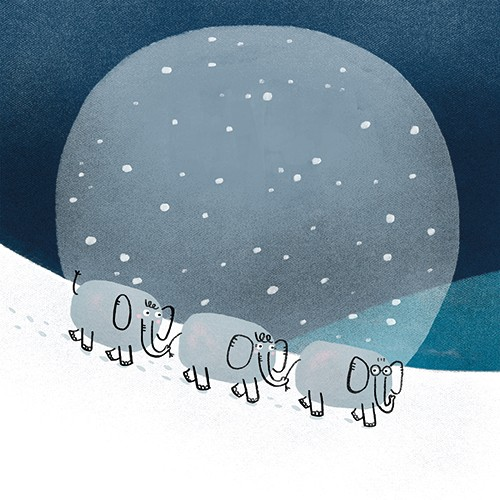 Anna Suessbauer Illustration - anna, süßbauer, anna süßbauer, illustration, digital, photoshop, illustrator, picture book, quirky, YA, young reader, elephants, snow, night, animals