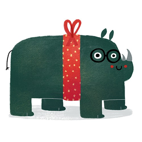 Anna Suessbauer Illustration - anna, süßbauer, anna süßbauer, illustration, digital, photoshop, illustrator, picture book, quirky, YA, young reader, rhino, animal, cute, sweet, wrapping paper, pattern, glasses, quirky