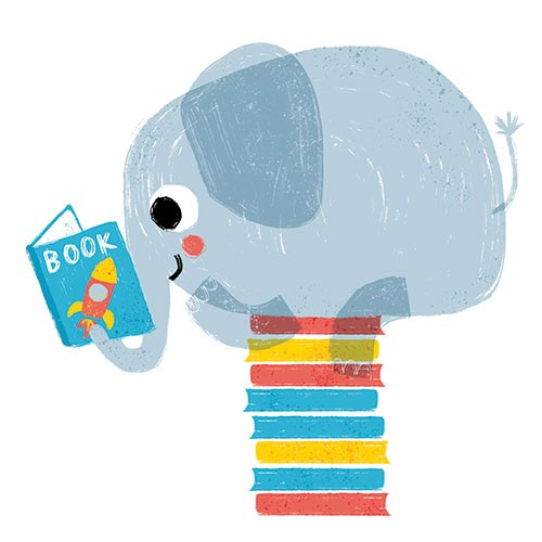 Anna Suessbauer Illustration - nna, süßbauer, anna süßbauer, illustration, digital, photoshop, illustrator, picture book, quirky, YA, young reader, texture, pattern, colour, animal,s elephant, book, reading, balance, pile of books, rocket ship, happy,