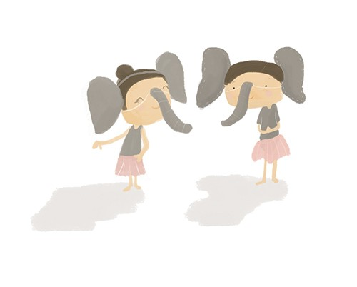 Abi  Tompkins  Illustration - abigail, tompkins, abigail tompkins, trade, sweet, cute, picture book, greetings cards, stationary, digital, painted, photoshop, textured, printed, fiction, young, girls, costumes, school plays, performances, fancy dress, elephants, trunks, ears, friends