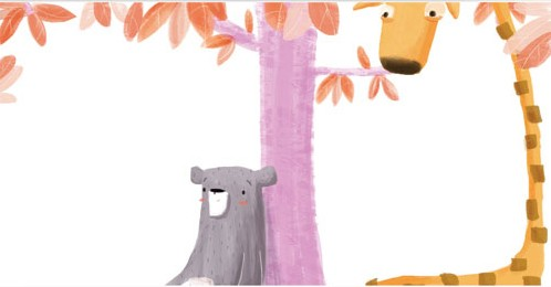 Abi  Tompkins  Illustration - abigail, tompkins, abigail tompkins, trade, sweet, cute, picture book, greetings cards, stationary, digital, painted, photoshop, printed, fiction, young, animals, bear, giraffe, leaves, colour, colourful, tree