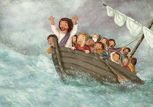 Antonia Woodward Illustration - antonia, woodward, antonia woodward, commercial, trade, picture book, picturebook, novelty, sweet, fiction, traditional, painted, people, person, boat, sea, educational, water, sea, storm, religion, bible, men, man, rain