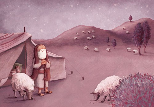 Antonia Woodward Illustration - antonia, woodward, antonia woodward, commercial, trade, picture book, picturebook, novelty, sweet, fiction, traditional, painted, person, shepard, animals, sheep, night, night time, sky, stars, hills, trees, country side, figure, figurative