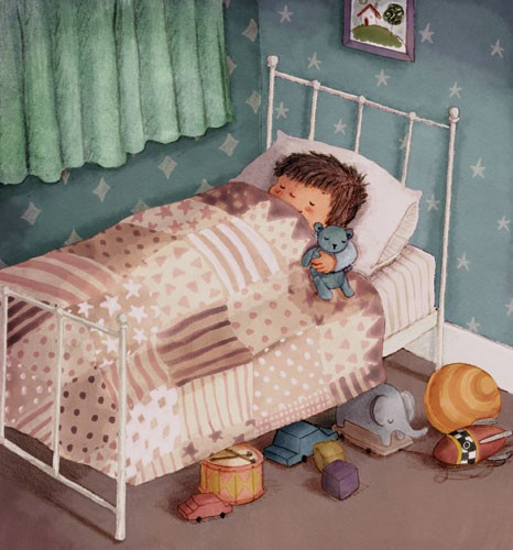 Antonia Woodward Illustration - antonia, woodward, antonia woodward, commercial, trade, picture book, picturebook, novelty, sweet, fiction, traditional, painted, child, person, boy, sleeping, cute, sleep, night, nihgt time, bed, bedroom , room, teddy, toys, patttern, curtains, cars, ele