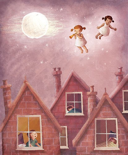 Antonia Woodward Illustration - antonia, woodward, antonia woodward, commercial, trade, picture book, picturebook, novelty, sweet, fiction, traditional, painted, child, person, children, fly, night, moon, stars, cloud, sleep, houses, bricks, brick, hosing, buildings, colour, colourful