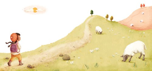 Antonia Woodward Illustration - antonia, woodward, antonia woodward, commercial, trade, picture book, picturebook, novelty, sweet, fiction, traditional, painted, child, person, walk, sheep, animals, trees, sky, sun, grass, hike, colourful cute, girl