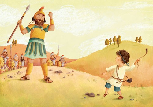 Antonia Woodward Illustration - antonia, woodward, antonia woodward, commercial, trade, picture book, picturebook, novelty, sweet, fiction, traditional, painted, child, person, people, man, boy, fight, colourful , colour, hills, trees, sky, clouds, soldier, soldiers, rocks, spear, beard
