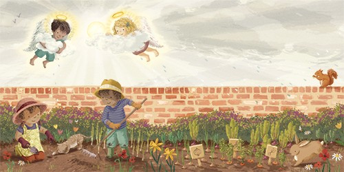 Antonia Woodward Illustration - antonia, woodward, antonia woodward, commercial, trade, picture book, picturebook, novelty, sweet, fiction, traditional, painted, child, gardening, angel, vegetables, children