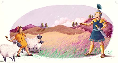 Antonia Woodward Illustration - antonia, woodward, antonia woodward, commercial, trade, picture book, picturebook, novelty, sweet, fiction, traditional, painted, people, person, educational, religion, bible, man, boy, sheep, soldier, shepherd, field