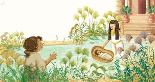 Antonia Woodward Illustration - antonia, woodward, antonia woodward, commercial, trade, picture book, picturebook, novelty, sweet, fiction, traditional, painted, people, person, educational, religion, bible, women, baby, reeds, river, basket, egypt, outside, building,