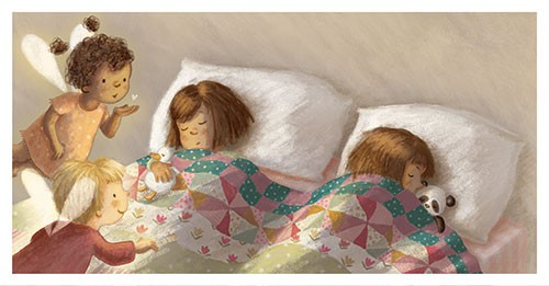Antonia Woodward Illustration - antonia, woodward, antonia woodward, commercial, trade, picture book, picturebook, novelty, sweet, fiction, traditional, painted, children, people, cute, sweet, girls, bed, sleeping, angels, wings, heart, love, dream, teddy, teddy bear, kiss, blowing kiss