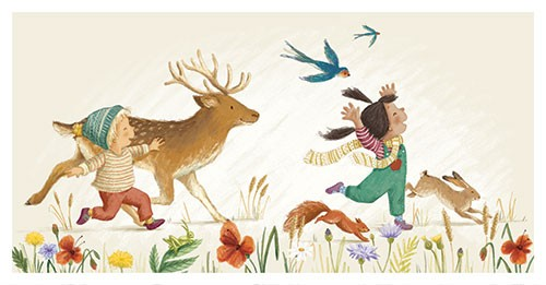 Antonia Woodward Illustration - antonia, woodward, antonia woodward, commercial, trade, picture book, picturebook, novelty, sweet, fiction, traditional, painted, children, people, cute, girl, boy, running, dancing, nature, flowers, plants, animals, wild, deer, birds, rabbit, squirrel, h